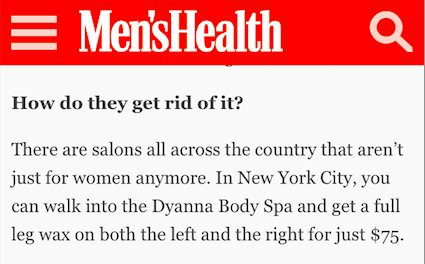 Dyanna Spa NYC mentioned in Men